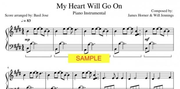 My Heart Will Go On Piano Instrumental Music Score
