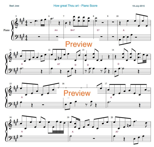 How great thou art - Piano Score with Chords