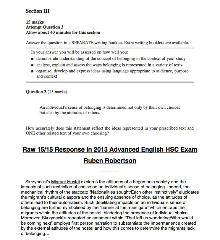 hsc english belonging thesis Creative writing in the hsc is the skill that is least conducive to pre-planning comparative study sample thesis studies for belonging essays read a belonging creative writing sample in bored room english women come and go.