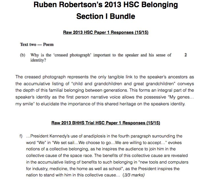 hsc belonging essay introduction The unknown fact is the types of texts that will be presented and how belonging or not belonging is represented in those texts this is a paper where the best responses will clearly identify and discuss language forms, features and techniques as the means for representing belonging or not belonging.
