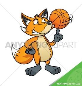 Cartoon Fox with Basketball- 003