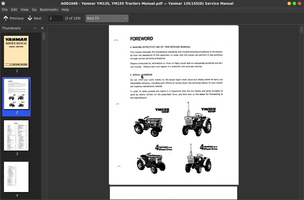 Yanmar YM135, YM155 Tractors Service Manual