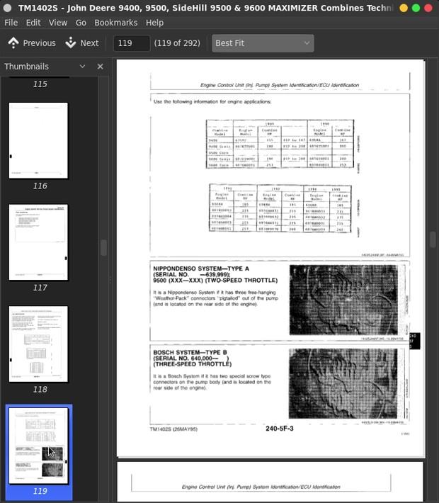 John Deere 9400, 9500, SideHill 9500 & 9600 MAXIMIZER Combines Diagnostics on