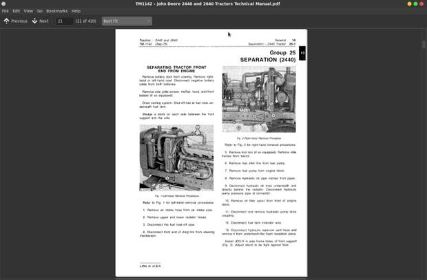 John Deere 2440 and 2640 Tractors Service Manual (TM1142)