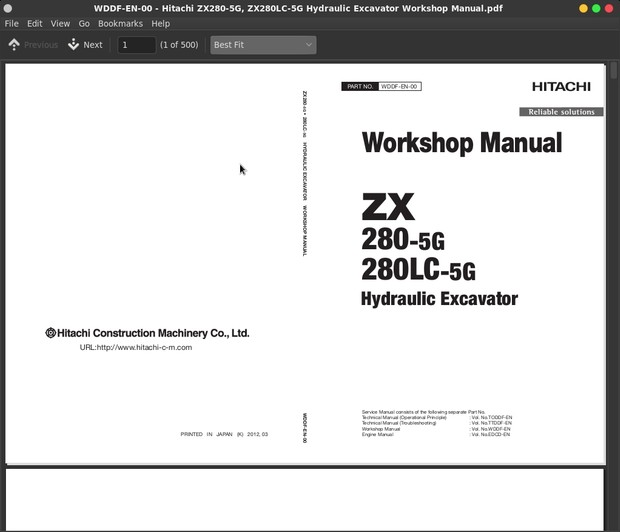 Hitachi ZX280-5G, ZX280LC-5G Excavator Factory Service & Shop Manual
