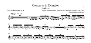 Bach BWV972 / Vivaldi RV230 Concerto In D Major Play-Along MP3 And PDF Solo Sheet Music Trumpet