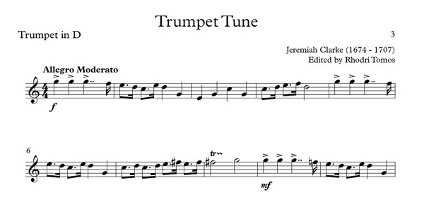Clarke Trumpet Tune. Trumpet sheet music with play along accompaniment