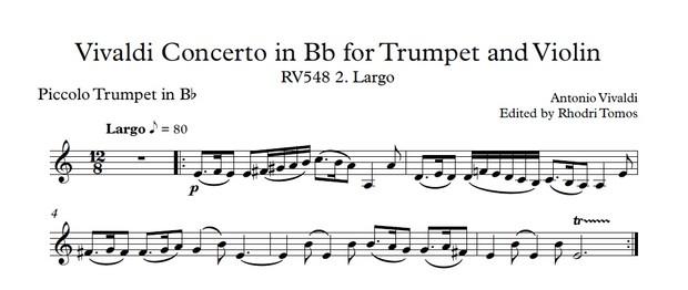 Vivaldi RV548 Trumpet, Violin & Strings Concerto. Accompaniment Mp3 And Trumpet Solo Pdf Sheet Music