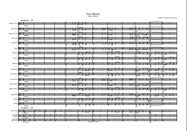 Brass band: Men of Harlech / Gwyr Harlech easy arrangement.