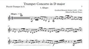 Stölzel Concerto in D major, HauH 5.3. Trumpet solo sheet music and accompaniment mp3