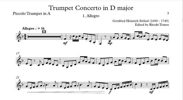 Stölzel Concerto in D major, HauH 5.3. Trumpet solo sheet music and accompaniment mp3