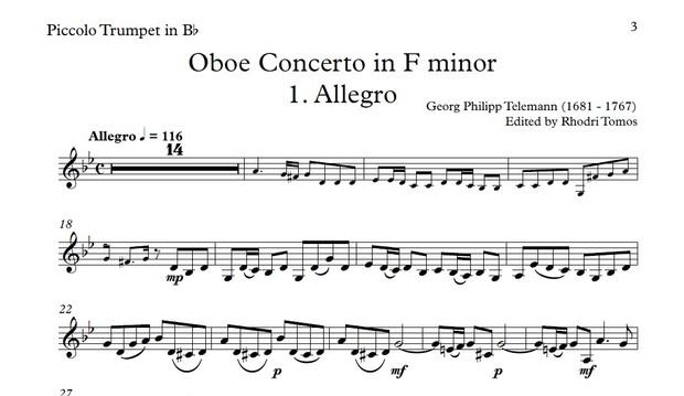 Telemann TWV51:F1 Oboe Concerto in F minor accompaniment mp3 and solo sheet music pdf