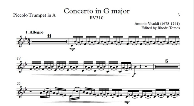 Vivaldi RV310 Concerto in G major  Play along accompaniment mp3 & solo  sheet music pdf