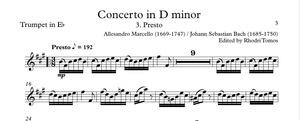 Marcello / Bach BWV974 Concerto In D Minor. Accompaniment Mp3 & Pdf Trumpet Solo Sheet Music.