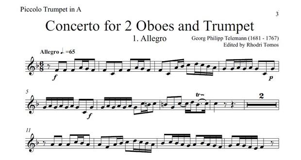 Telemann TWV53:D2 Concerto for Trumpet & 2 Oboes.