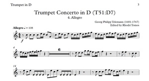 Telemann TWV51:D7 Trumpet Concerto In D Play Along Mp3 & Solo Sheet Music
