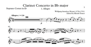 Mozart K622 Clarinet Concerto in Bb major. Play along accompaniment mp3 & sheet music pdf.