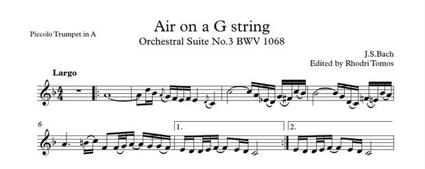 Bach BWV1068 Air on a G string  - accompaniment mp3 and trumpet solo sheet music