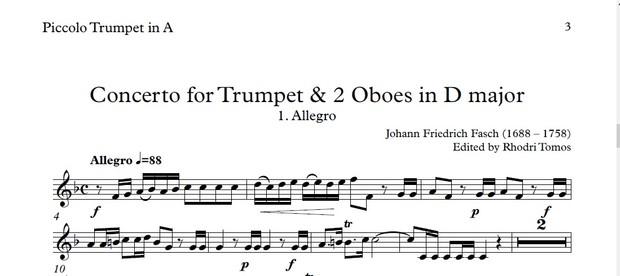 Fasch Trumpet Concerto. Trumpet sheet music play along.