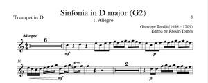 Torelli G2 Sinfonia in D major. Sheet music pdf trumpets & accompaniment play along mp3