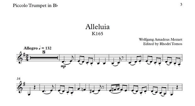 Mozart Alleluia K165 - play along sing along accompaniment mp3 and sheet music pdf