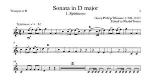Telemann TWV44:1 Sonata In D Major. Trumpet play along.