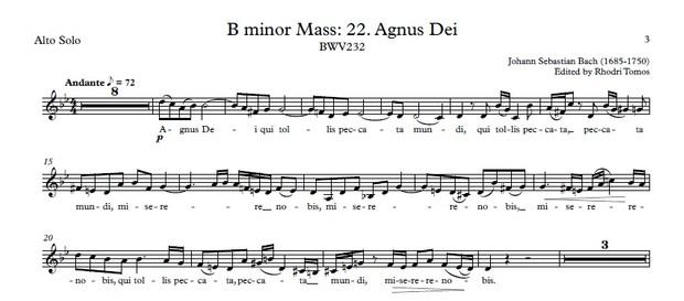 Bach BWV232 Agnus Dei Accompaniment / Sing-Along / Play-Along MP3 And PDF Sheet Music