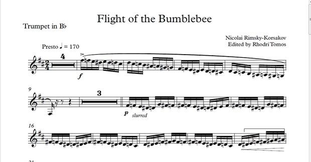 Rimsky-Korsakov Flight of the Bumblebee Bb Trumpet solo sheet music and mp3 accompaniment