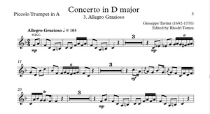 Tartini Trumpet Concerto in D major. Organ accompaniment mp3 & trumpet sheet music pdf