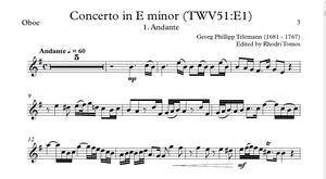 Telemann TWV51:E1 Concerto in E minor accompaniment mp3 and solo sheet music pdf