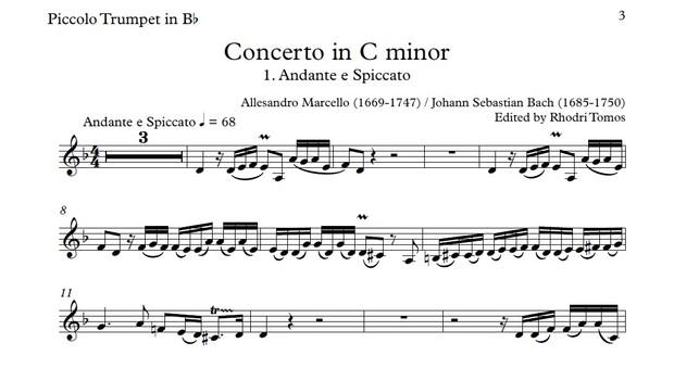 Marcello / Bach BWV974 Concerto In C Minor  Accompaniment Mp3 & Solo Pdf  Sheet Music