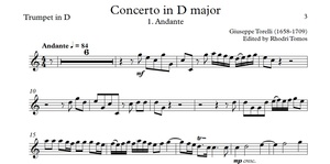 Torelli Trumpet Concerto in D 'Estienne Roger 188' trumpet solo sheet music and mp3 accompaniment