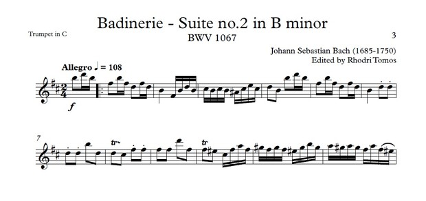Bach BWV1067 Badinerie - Suite no.2 in B minor play along mp4 video, mp3 and pdf solo sheet music