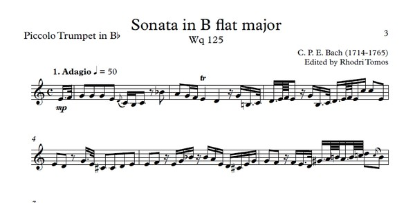 CPE Bach Sonata in Bb major Wq 125 - sheet music and play along accompaniment - flute, trumpet