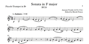 Vivaldi RV20 Sonata in F major. Sheet music with play along accompaniment for violin or trumpets.