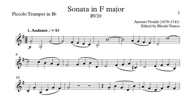 Vivaldi RV20 Sonata in F major. Sheet music with play along accompaniment for violin or trumpets.