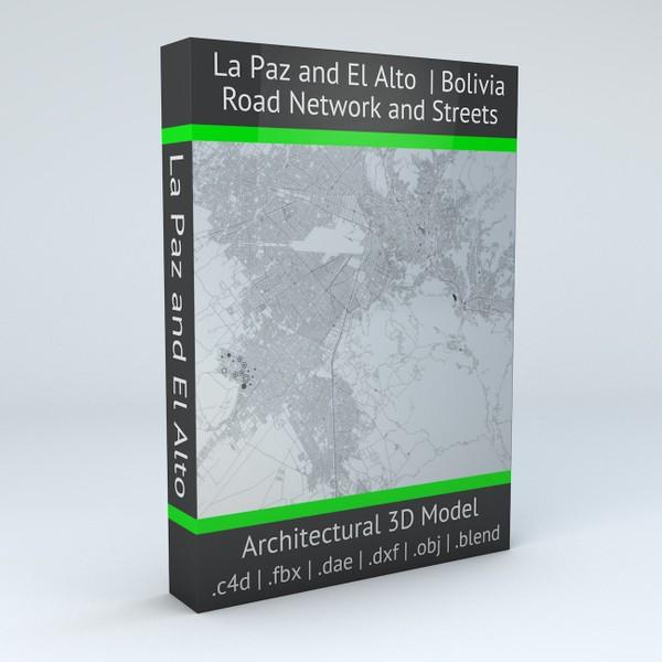 La Paz and El Alto Road Network and Streets Architectural 3D Model