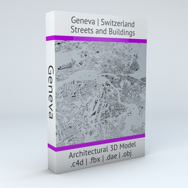 Geneva Streets and Buildings Architectural 3D Model