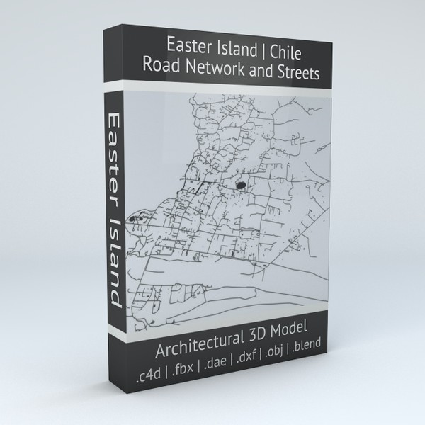 Easter Island Road Network and Buildings 3D model