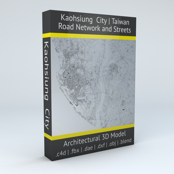Kaohsiung City Road Network and Streets 3D model