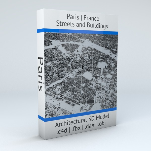 Paris Streets and Buildings Architectural 3D Model