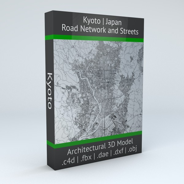 Kyoto Road Network and Streets Architectural 3D model