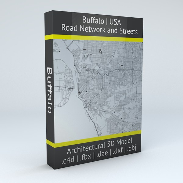 Buffalo Road Network and Streets Architectural 3D model