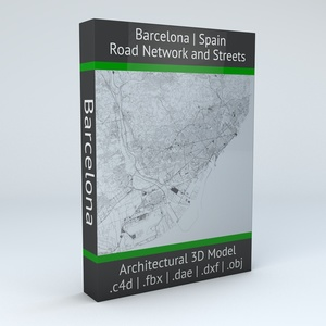 Barcelona Road Network and Streets Architectural 3D model