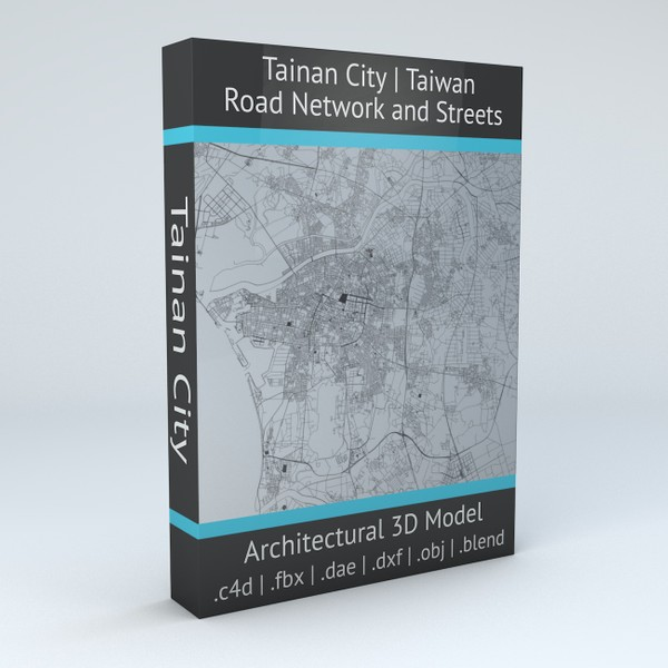 Tainan City Road Network and Streets 3D model