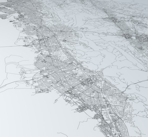 San Francisco Bay Eastern Side Area Road Network Architectural 3D Model