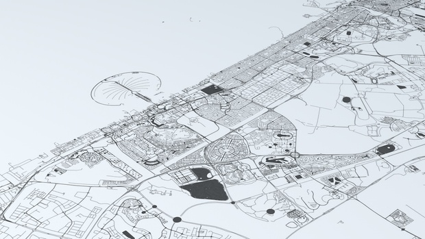 Dubai Road Network and Streets Architectural 3D model
