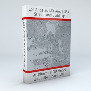 Los Angeles LAX Airport Area Streets and Buildings Architectural 3D Model