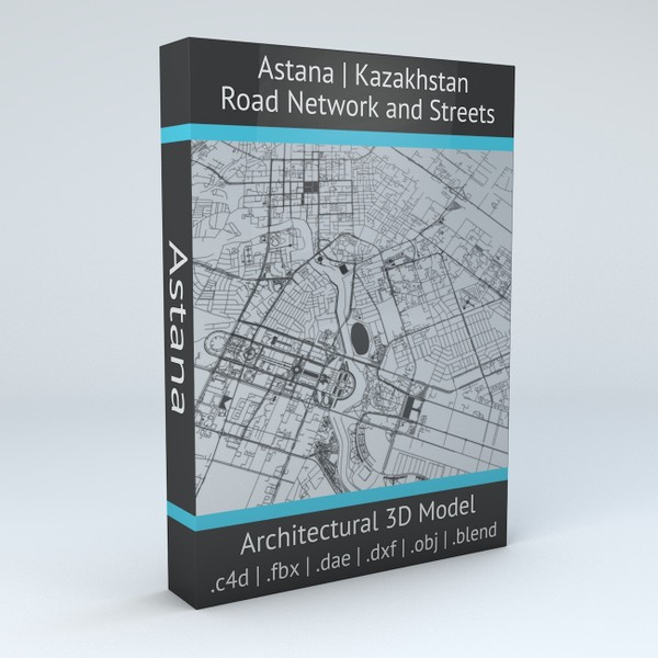 Astana Road Network and Streets Architectural 3D model