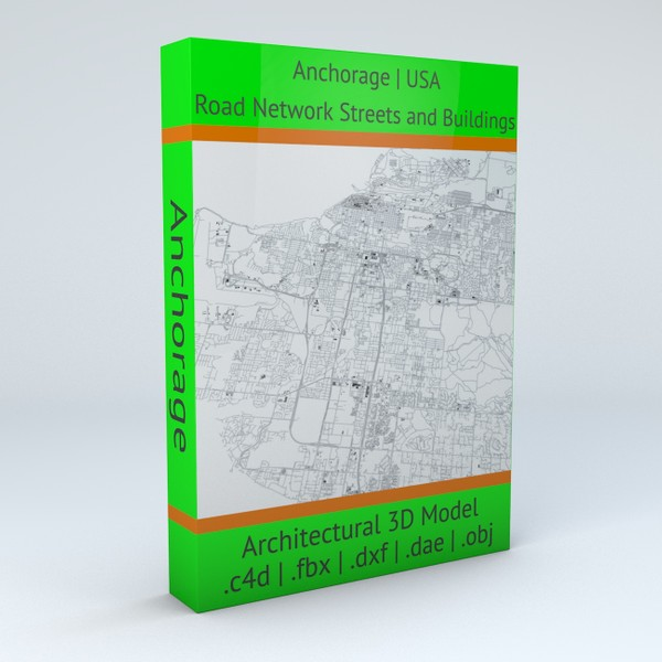 Anchorage Buildings and Road Networks Architectural 3D model